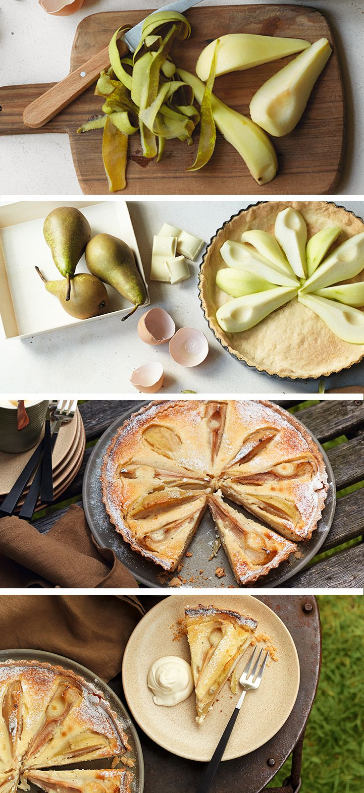 Pear and white chocolate and cardamom tart recipe – best served warm with vanilla ice cream