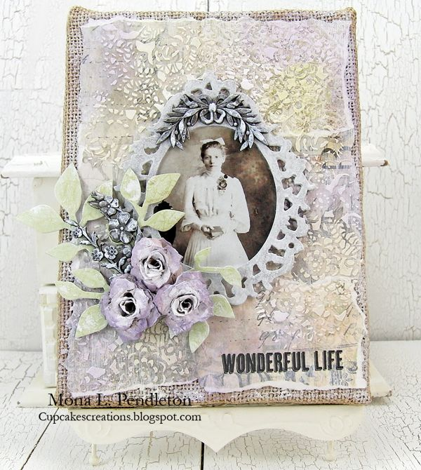Mona Pendelton: Collaged burlap panel http://www.simonsaysstampblog.com/blog/collaged-stenciled-inked/