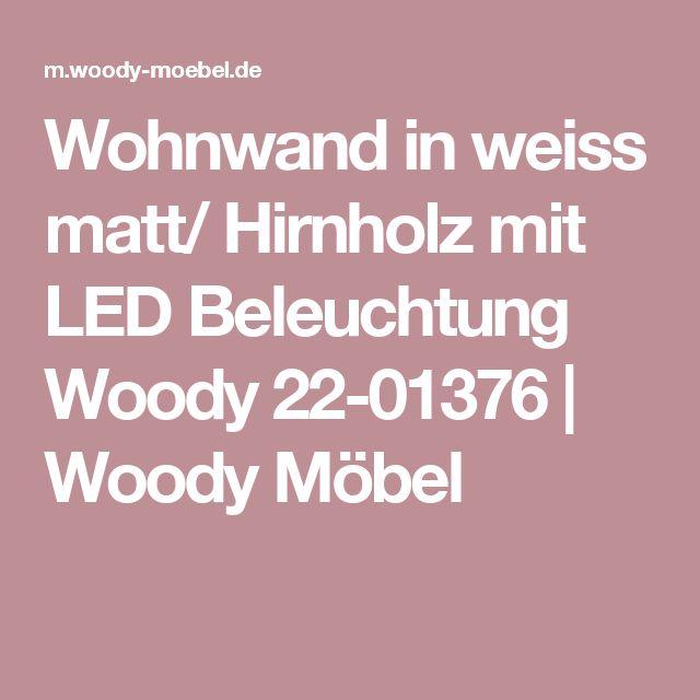 Wohnwand in weiss matt/ Hirnholz mit LED Beleuchtung Woody 22-01376 | Woody Möbel