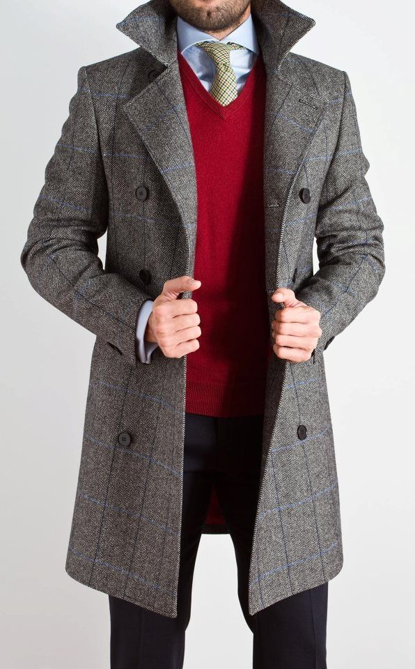 grey coat red sweater