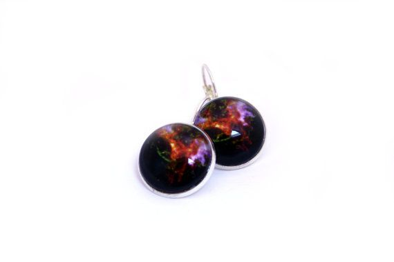 Galaxy Jewellery - High Contrast - Astronomy Glass Cabochon Earrings - Cassiopeia - Black with contrast of pop colour https://www.etsy.com/nz/shop/MajorTomJewellery