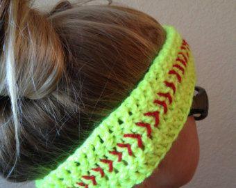 crochet softball hat | Softball Headband- Crochet Headband - Softball Ear Warmer ...