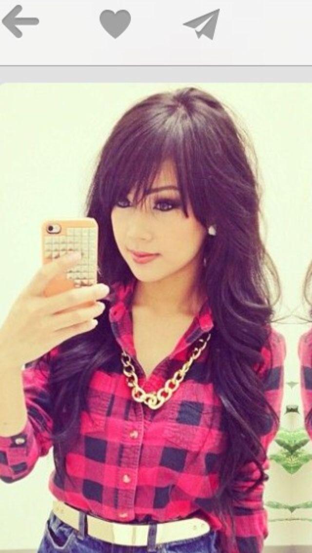 Long hair with bangs, I want this so bad!   #longhair #bangs