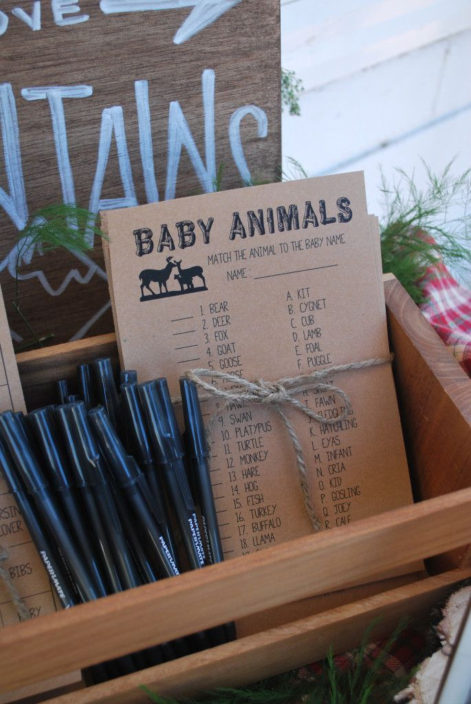 Match the baby animal game at a baby shower // Great Outdoors Baby Shower Free Printable Games - Twinkle and Toast