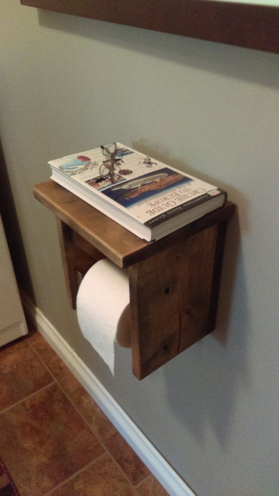 Rustic toilet roll holder toilet paper holder by TheeOldeWoodshop
