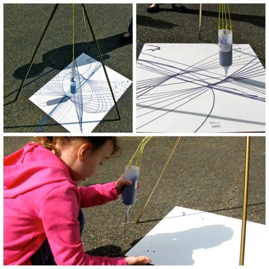 Pendulum paint project, Great for combining art and science, teaching about pendulums and gravity together.