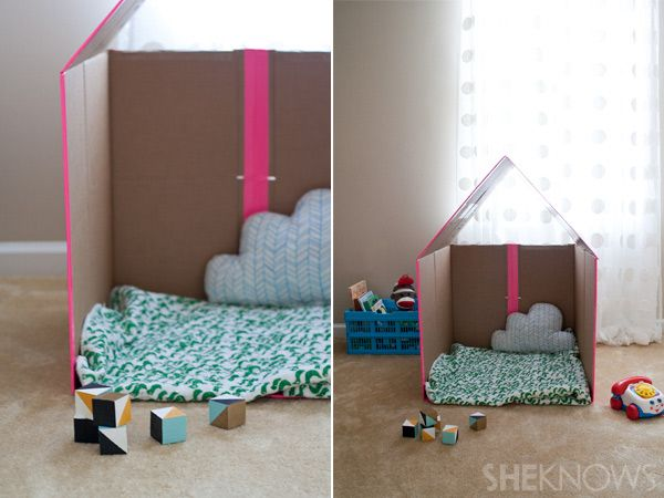 DIY collapsible cardboard playhouseBoxes House, Cardboard House, Cardboard Boxes, Plays House, Reading Nooks, Collapsible Cardboard, Cardboard Playhouses, Diy Home, Kids Toys
