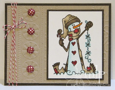 Cute Snowman Card...with buttons & candy cane string.