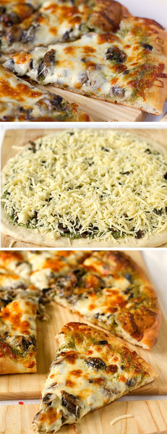 Portobello Pesto Pizza | Click Pic for 30 Easy Vegetarian Recipes for Kids for Dinner | Quick and Easy Healthy Meals on a Budget