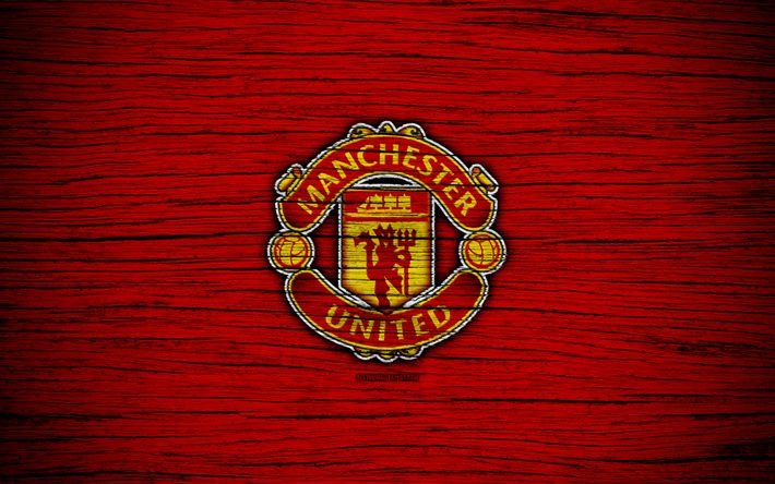 Download wallpapers Manchester United, 4k, Premier League, logo, England, wooden texture, FC Manchester United, soccer, MU, football, Manchester United FC, Man United