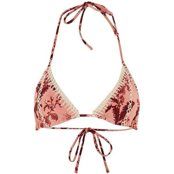 Topshop Floral Crochet Triangle Bikini Top (88 BRL) ❤ liked on Polyvore featuring swimwear, bikinis, bikini tops, blush, swimsuit tops, floral-print bikinis, tankini tops, floral bikini and triangle swim top