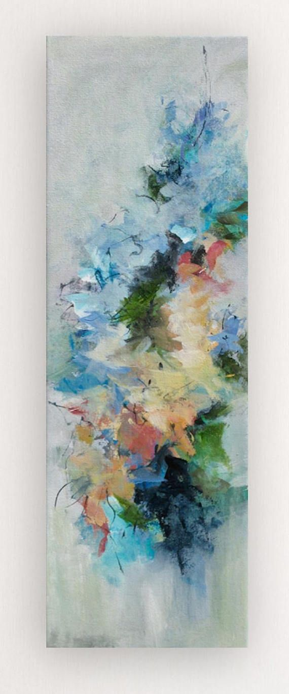 Abstract acrylic flower painting on canvas An impressionism approach to flowers makes me happy. I love the freedom the painting expresses. You can almost smell the heady aroma. Featured artist with Crate and Barrel Original acrylic painting on stretched canvas Multilayers of acrylic