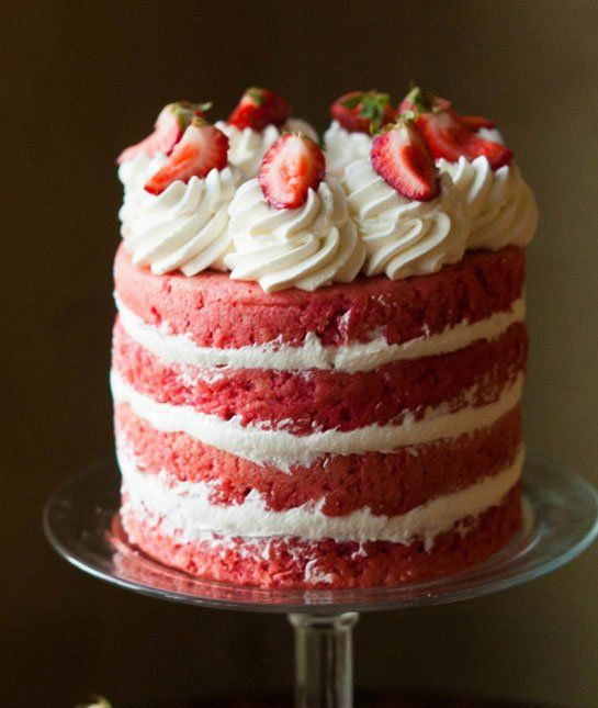 Strawberries And Cream Cake- Beautiful And Delicious- Can
