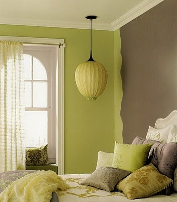 lime green and brown overlapping - Green Color Bedroom