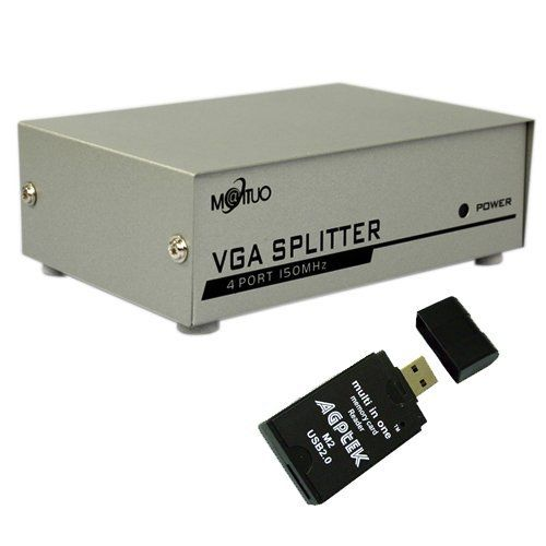 4-port VGA Splitter 1 PC to 4-Port Splitter with USB 2.0 AGPtek All-in-One Card Reader (Support Daisy Chain) by BrainyDeal. $14.99. This is a 4 ports VGA splitter which takes the computer's VGA singal and displays it on 4 analog monitors. It is compatible with 95% of the monitor on the market and enables up to 64 monitors to share the information of a host computer simutaneously. It is also a boosting device that extends the video signal transmission distance to 2...