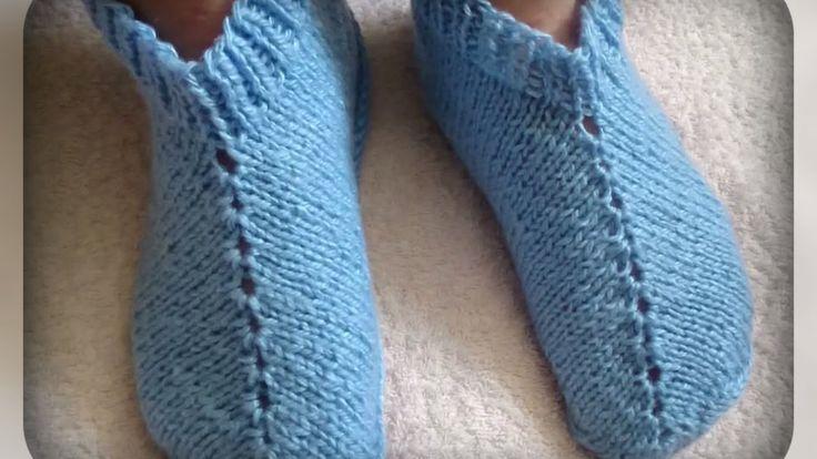 женские следочки - тапочки, вязание спицами