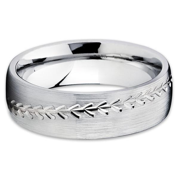 Baseball Wedding Band,Cobalt Chrome Ring,Cobalt Wedding Ring,8mm Cobalt Ring