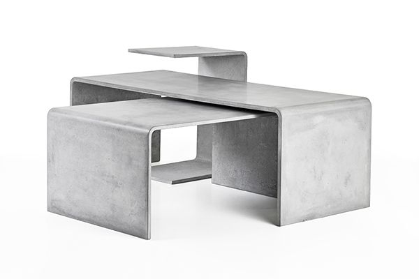 Three concrete conference tables in different sizes can be variably assembled according to your wishes. The result is always an original sculpture in the middle of your living room.  Tables are available in different shades of white, gray and anthracite. Two smaller tables have stacking partitions made from quality american oak or european walnut wood.  designed for Gravelli.com buy: shop.gravelli.com design by Tomas Vacek