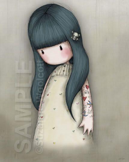 Muñeca gorjuss ,mi favorita con su tatoo