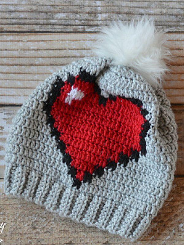 8-Bit Heart Slouchy Free Crochet Pattern | Stricken | Pinterest ...