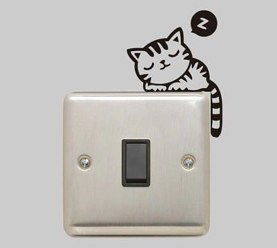 sleeping cat light switch decal by vinyls direct