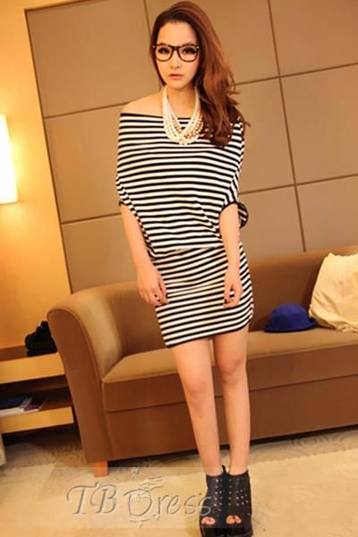 #Western #Short #Dress Stylish Boat Neck Print Striped Sheath Korean Western Style Dress