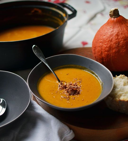 CURRIED PUMPKIN-SQUASH SOUP WITH SHALLOTS & COCONUT. Major Ingredients: Pumpkin, Squash, Coconut Milk, Coconut Flakes, Curry Powder, Shallots, Tomato Paste, Lime Juice