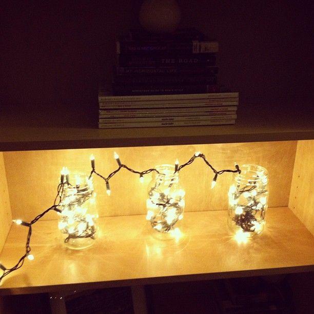 Jars + lights in my living room