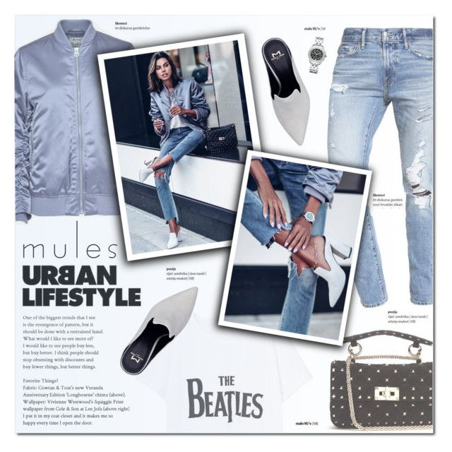 """""""Mules: urban lifestyle"""" by justlovedesign ❤ liked on Polyvore featuring Abercrombie & Fitch, MANGO, Valentino, Acne Studios and mules"""