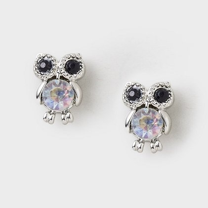 Crystal Belly Owl Stud Earrings | Claire's  LOVING all the owl accessories now!
