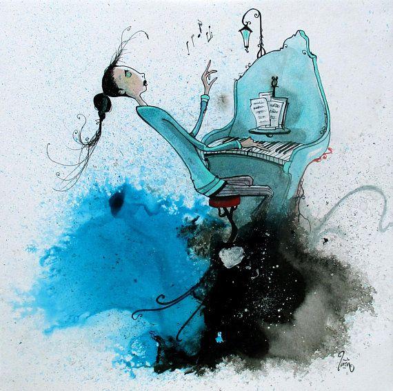 Peinture Carree D Une Illustration A L Aquarelle Et Encre Bleue Et