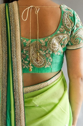 Pretty embroidered paisleys on a kelly green blouse paired beautifully with a lime green sari! RedPaisleys.com