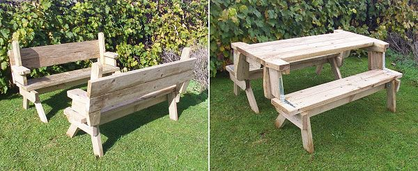2 piece convertible picnic table