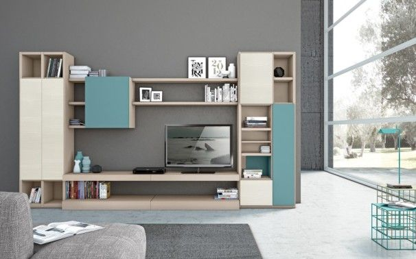 Furniture, Charming Living Room With Beige And Turquoise Combination Color For Modern Tv Wall Unit Also Gray Wall Paint Color And Black LED TV Also Modern Concrete Floor Design Also Unique Floor Lamp With Aquamarine Color: Modern Tv Wall Units for Your Room