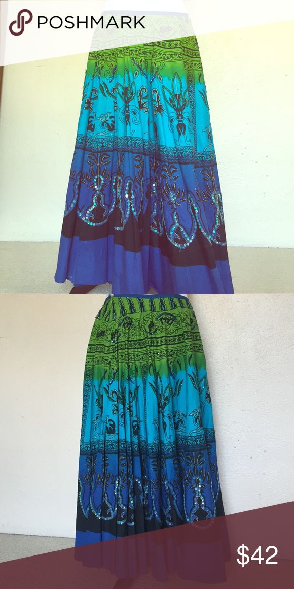 Jasmin KC Indian Skirt Pleated Indian skirt embellished with sequins from Saks Jasmin from Saks Skirts Circle & Skater