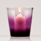 two-toned colourway which graduates to a sumptuous purple, this hand-made glass hurricane will create a stunning candlelit statement for any room.      Suitable for use with small, medium or large pillar candles.  Add decorative sand, stones or gems to complete the look.