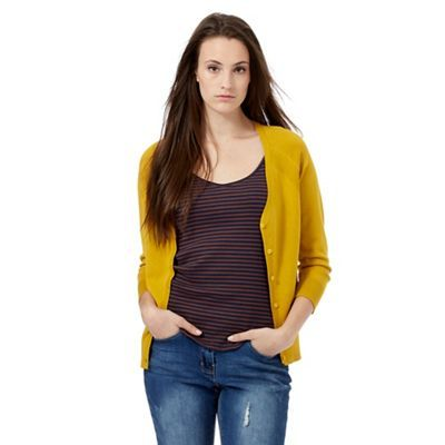 Red Herring Dark yellow V neck cardigan | Debenhams