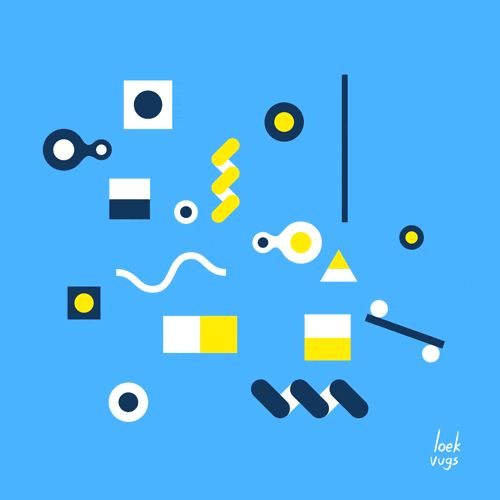 Like Mondrian or Mirò Art playng geometric game stop motion animation graphic art Blue artist loek vugs