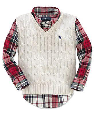 Ralph Lauren Kids Sweater Vest, Little Boys Cable Knit Sweater Vest