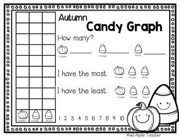 This candy corn graph is intended to go with Brach's Autumn Mix (the bag with the little pumpkins, regular orange candy corn, and brown candy corn).  Students will sort their candy and construct a graph.  They will then write how many of each candy they had.