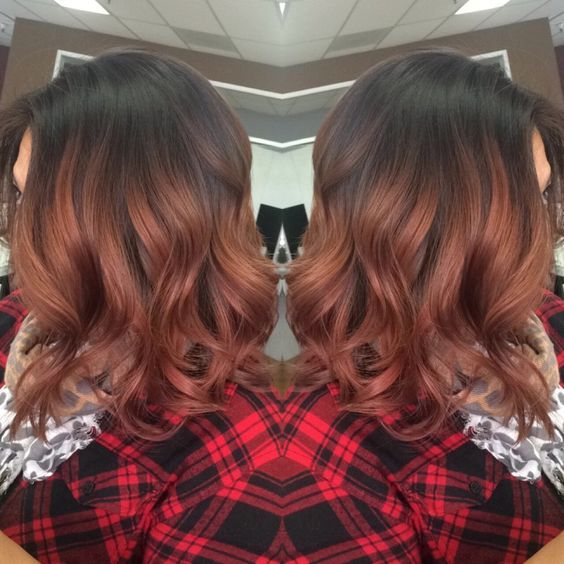 Image result for rose gold balayage black hair