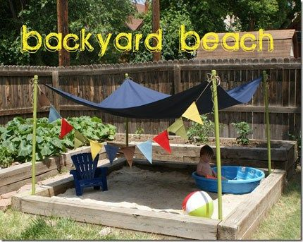 This is such a fun idea for your kids. Create a sandbox with a beach feel. Add a canopy and a kiddie pool and your child will have his/her own little beach haven. See how they did at at  Wray Sist3…
