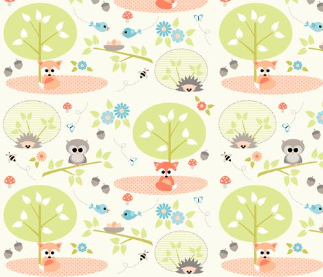 Woodland babies with blue fabric by heleenvanbuul on Spoonflower - custom fabric