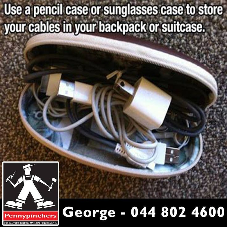 Use a pencil case or sunglasses case to store your cables in your backpack or suitcase. #lifehacks #diy