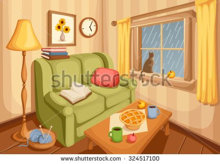 stock-vector-vector-illustration-of-cozy-autumn-living-room-with-rain-outside-the-window-324517100.jpg (450×335)