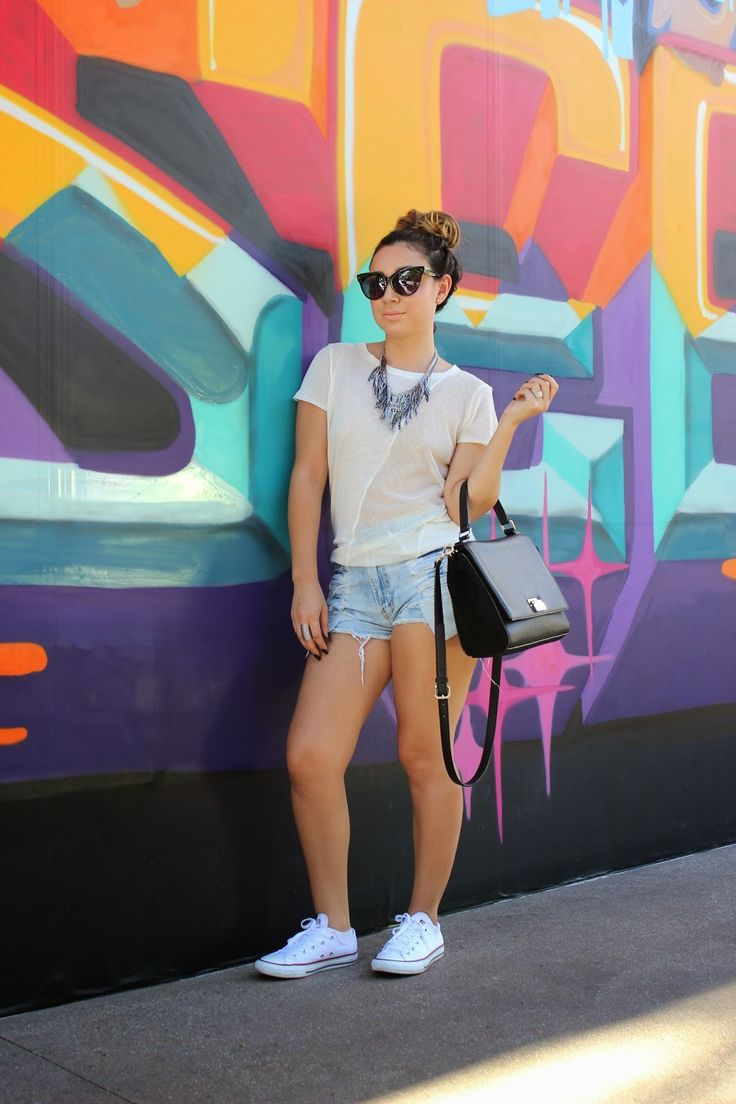 Love the outfit. Blouse, denim shorts, white converse, cute necklace, sunglasses.styledbyale #chula#fashionista#summer