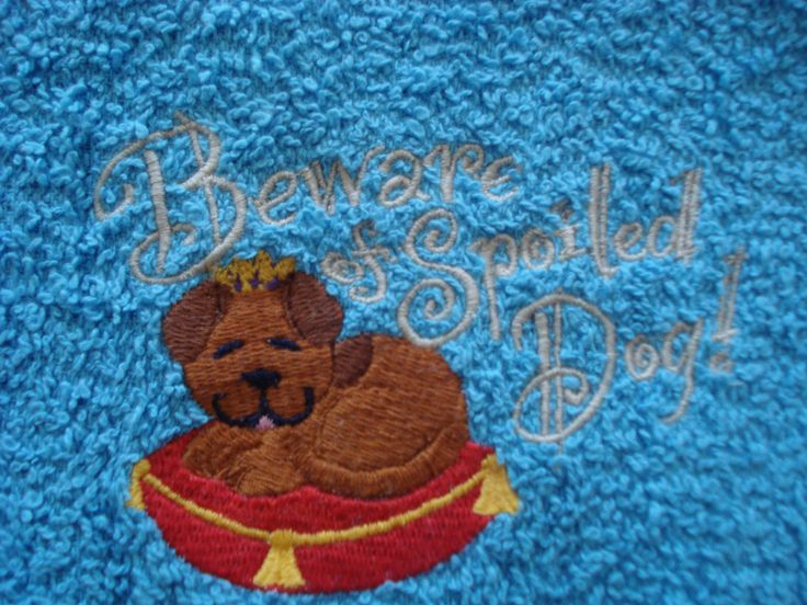 "Blue Hand Towel for a Dog with Embroidery ""Beware of Spoiled Dog"" Ideal Towel to Keep in the Car for Those Muddy Paws. by Rootspins on Etsy"