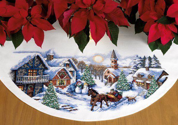 """✨ Схема вышивки от Дименшенс с зимнем пейзажем и Новогодним настроением  """"Прогулка на санях / Dimensions 70-08830 - Sleigh Ride Tree Skirt""""    Забирайте себе на стенку!  Ссылка на скачивание http://stitchlike.ru/mk3y    #stitchlike_dimensions, #рукоделие, #схемы_вышивки"""