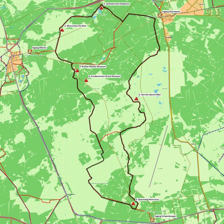 Nationaal Park De Hoge Veluwe (29km) # Deze prachtige GPS-fietsroute voert u door het unieke natuurschoon van het Nationaal Park De Hoge Veluwe. Ook is er aandacht voor de historie van het park.