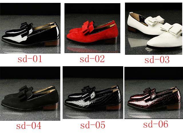 2015 fashion top quality Korean men's leather bowtie shoes, shiny leather shoes, British business shoes,6 colors for option
